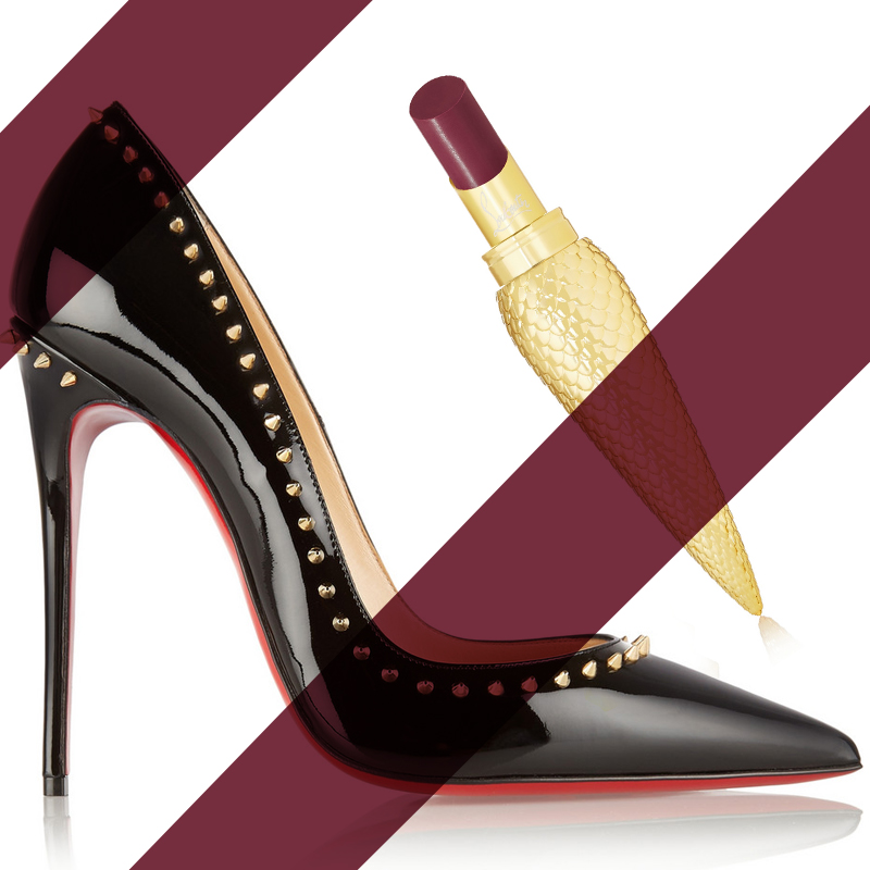 CHRISTIAN LOUBOUTIN Anjalina 120 studded patent-leather pumps - CHRISTIAN LOUBOUTIN BEAUTY Sheer Voile Lip Colour - You You - behindmyglasses.com