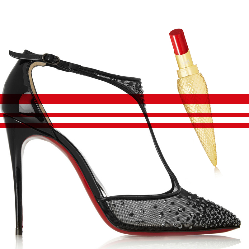 CHRISTIAN LOUBOUTIN Salopatina 100 patent leather-trimmed embellished mesh pumps - CHRISTIAN LOUBOUTIN BEAUTY Sheer Voile Lip Colour - Mexicatchy behindmyglasses.com