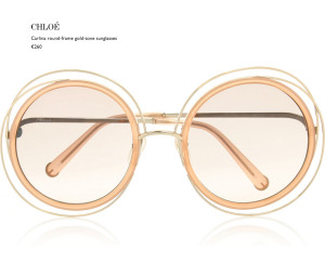 CHLOE CARLINA ROUND GOLD-TONE SUNGLASSES