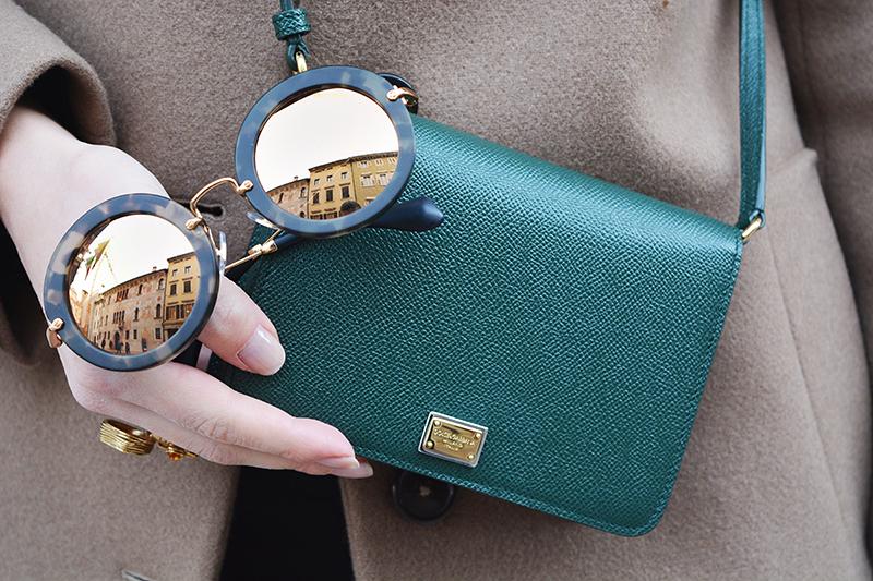 1 miu miu mirror lenses gold sunglasses fall winter 2015 2016 behindmyglasses.com giulia de martin jill sander coat dolce & gabbana bag zara shoes
