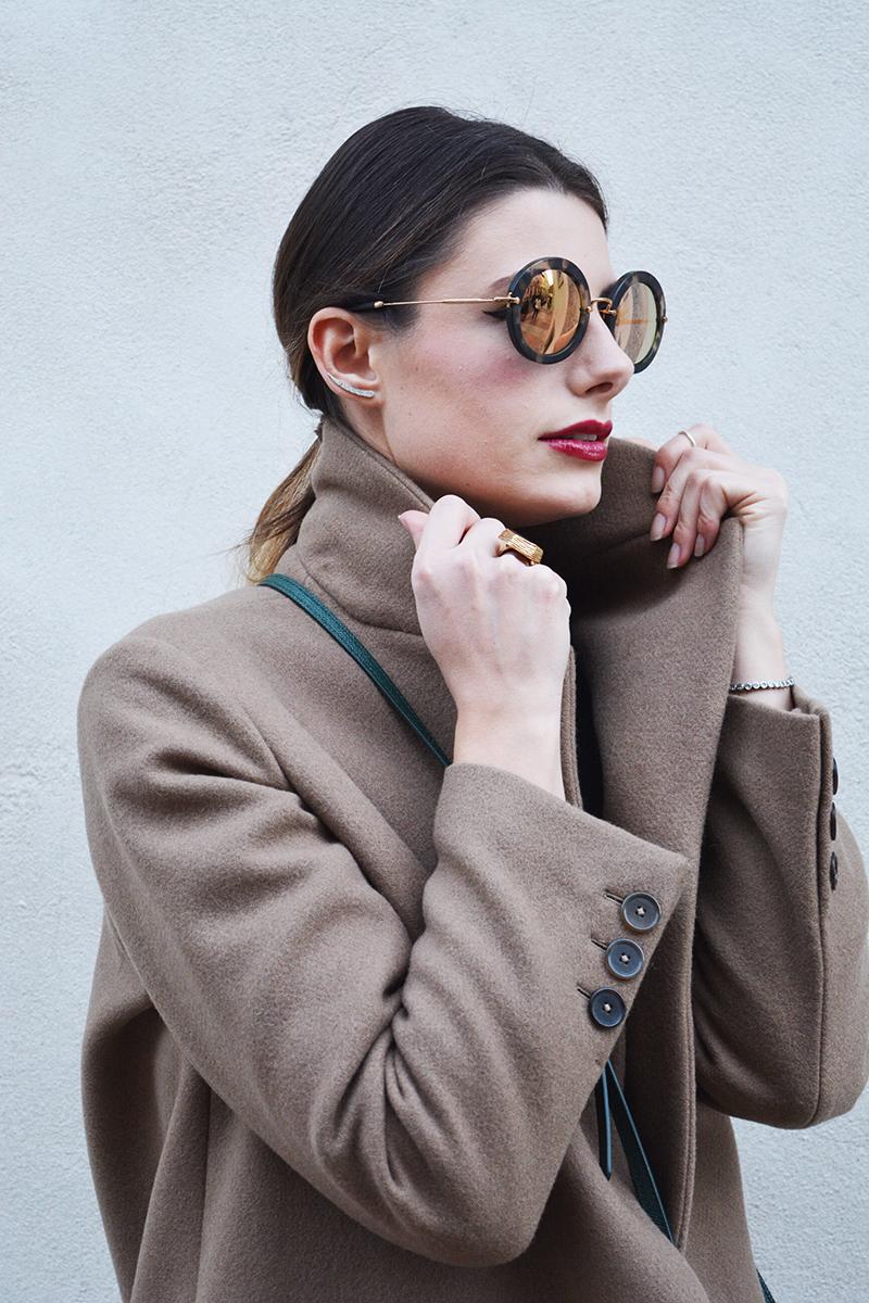 10 miu miu mirror lenses gold sunglasses fall winter 2015 2016 behindmyglasses.com giulia de martin jill sander coat dolce & gabbana bag zara shoes
