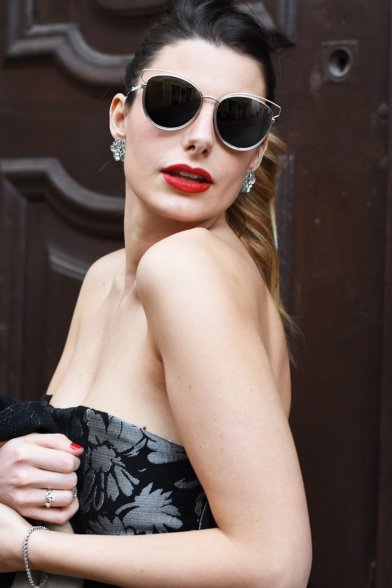 2 giulia de martin bianco concept store behindmyglasses new year's eve night dior silver mirror lenses sunglasses metal frame eyewear collection 2015 2016 fall winter