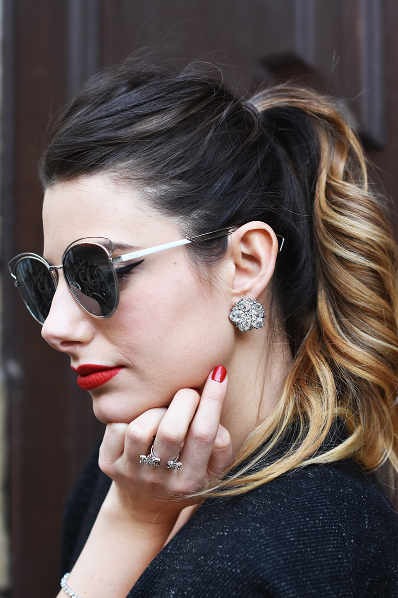 3 giulia de martin bianco concept store behindmyglasses new year's eve night dior silver mirror lenses sunglasses metal frame eyewear collection 2015 2016 fall winter