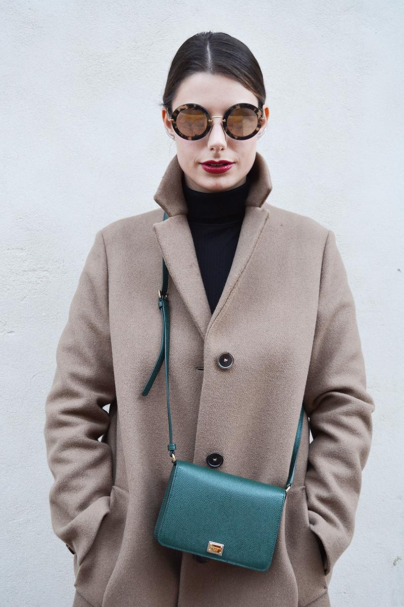7 miu miu mirror lenses gold sunglasses fall winter 2015 2016 behindmyglasses.com giulia de martin jill sander coat dolce & gabbana bag zara shoes