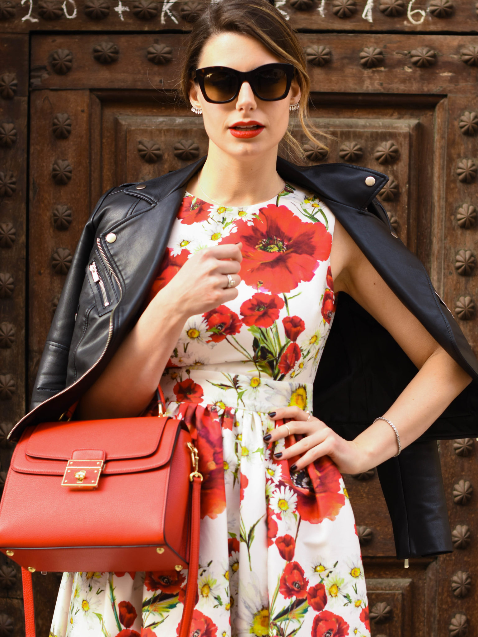 Giulia De Martin behindmyglasses.com sunglasses Maui Jim eyewear collection Dolce & Gabbana bag dress Valentino rockstud pumps red mango leather jacket-4